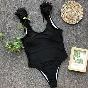 LYB BLACK ANGEL WING ONE PIECE SWIMSUIT